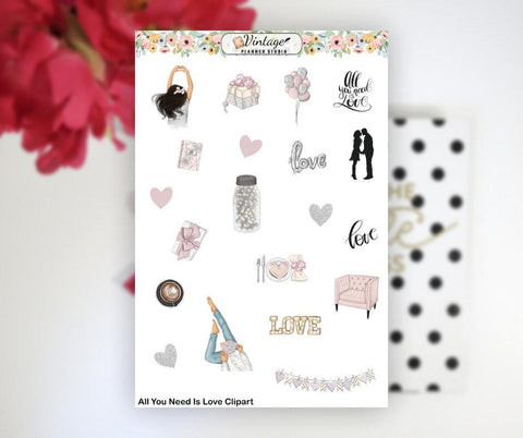 All You Need Is Love Clipart Planner Stickers - Vintage Planner Studio
