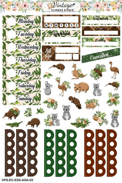 Aussie Outback Animals Essentials Weekly Sticker Kit | EC Style | VERTICAL | 4 Sheet Kit - Vintage Planner Studio