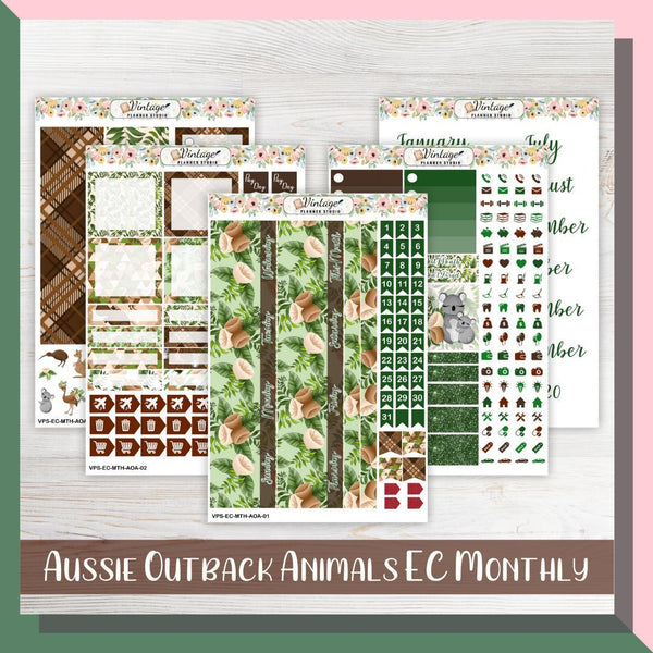 Aussie Outback Animals Monthly Kit | Erin Condren Vertical - Vintage Planner Studio