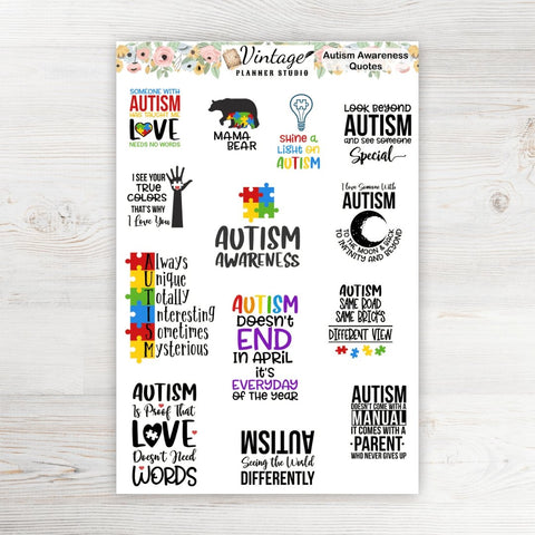 Autism Awareness Planner Stickers - Vintage Planner Studio