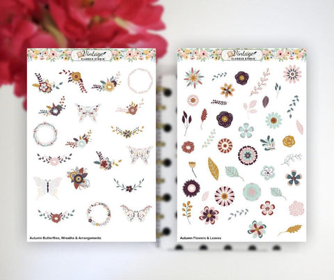 Autumn Flowers, Wreaths & Butterflies Clipart Planner Stickers - Vintage Planner Studio