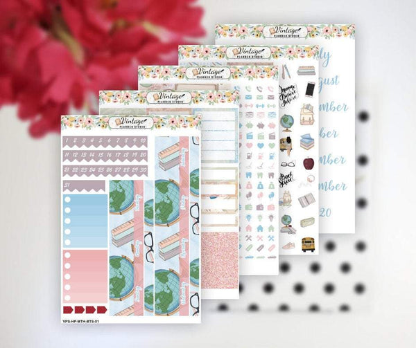 Back To School Monthly Kit | Classic Happy Planner - Vintage Planner Studio