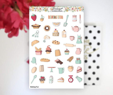 Baking Fun Clipart Planner Stickers - Vintage Planner Studio