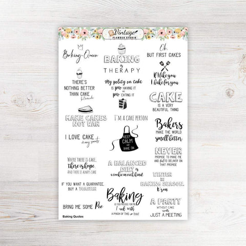 Baking Quotes Clipart Planner Stickers - Vintage Planner Studio