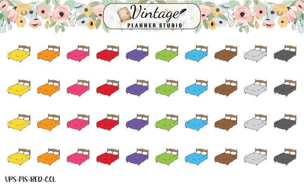 Beds Mini Icon Planner Stickers - Vintage Planner Studio
