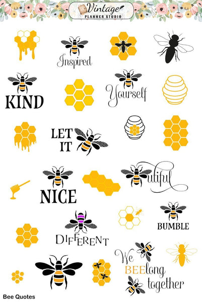 Bee Quote Planner Stickers - Vintage Planner Studio
