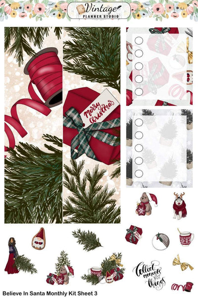 Believe In Santa Monthly Kit | Erin Condren Vertical - Vintage Planner Studio