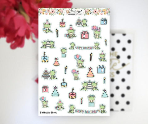Birthday Elliot Stickers - Vintage Planner Studio