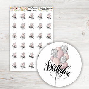 Birthday Mini Icon Planner Stickers - Vintage Planner Studio