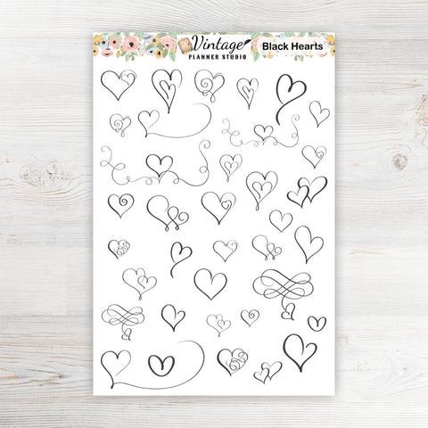 Black Hearts Planner Stickers - Vintage Planner Studio