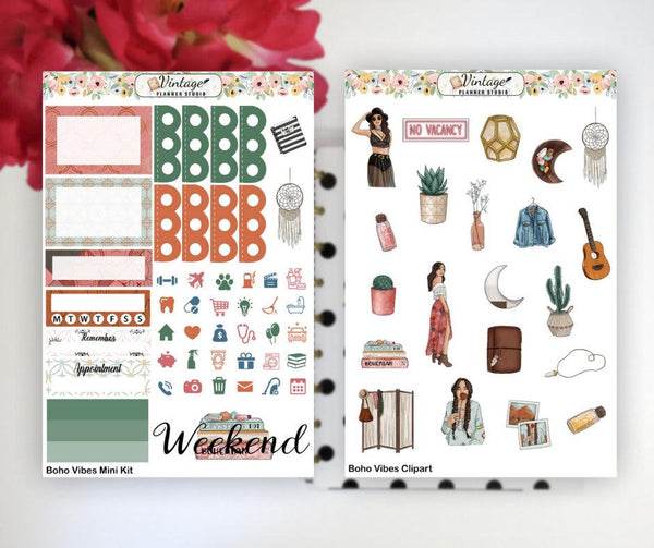 Boho Vibes Mini Kit | Planner Stickers - Vintage Planner Studio