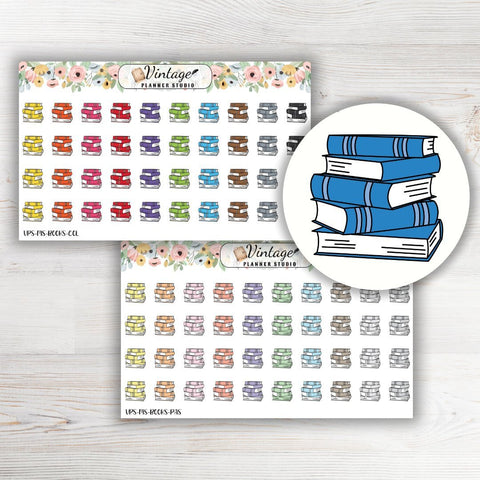 Book Stack Mini Icon Planner Stickers - Vintage Planner Studio