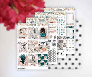 Bookworm Life Essentials Weekly Sticker Kit | EC Style | VERTICAL | 4 Sheet Kit - Vintage Planner Studio