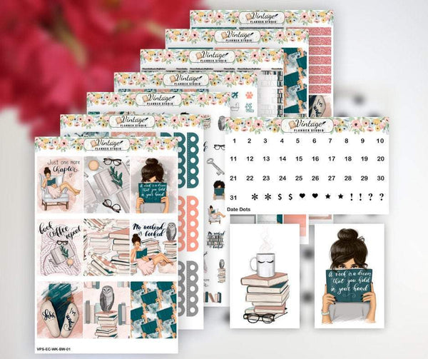 Bookworm Life Weekly Sticker Kit | EC Style | VERTICAL | 7 Sheet Kit Plus Date Dots & Die Cuts - Vintage Planner Studio