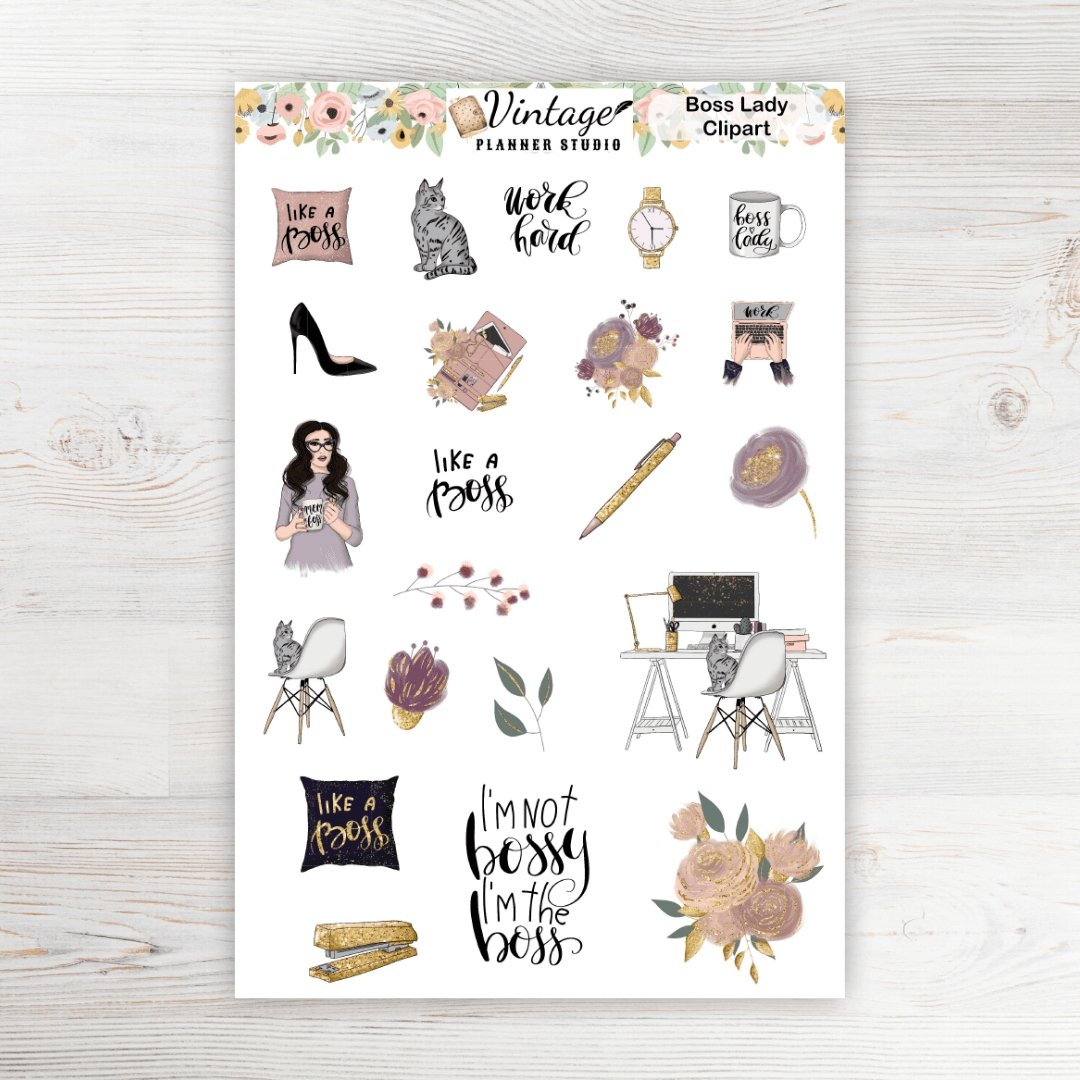 Boss Lady Clipart Planner Stickers - Vintage Planner Studio