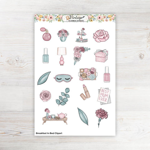 Breakfast In Bed Clipart Planner Stickers - Vintage Planner Studio
