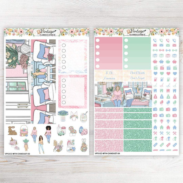 Candied Easter Monthly Kit | Erin Condren Vertical - Vintage Planner Studio
