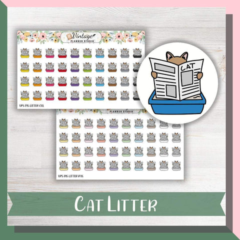 Cat Litter Mini Icon Planner Stickers - Vintage Planner Studio