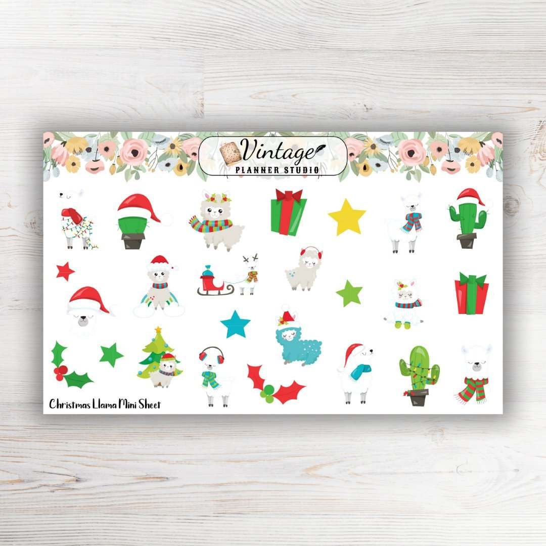 Christmas Llamas Mini Sticker Sheet - Vintage Planner Studio