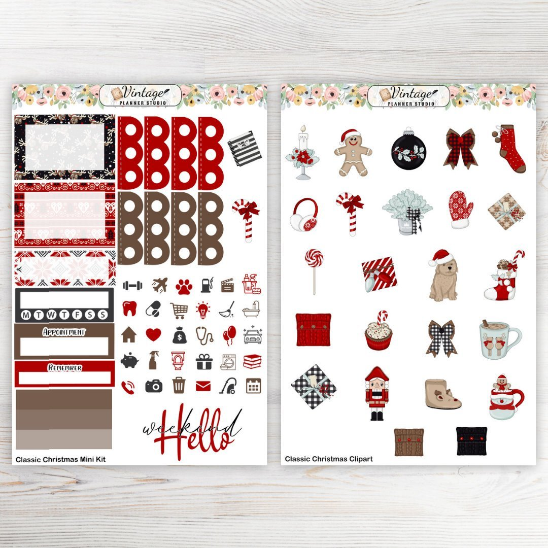 Classic Christmas Mini Kit - Vintage Planner Studio