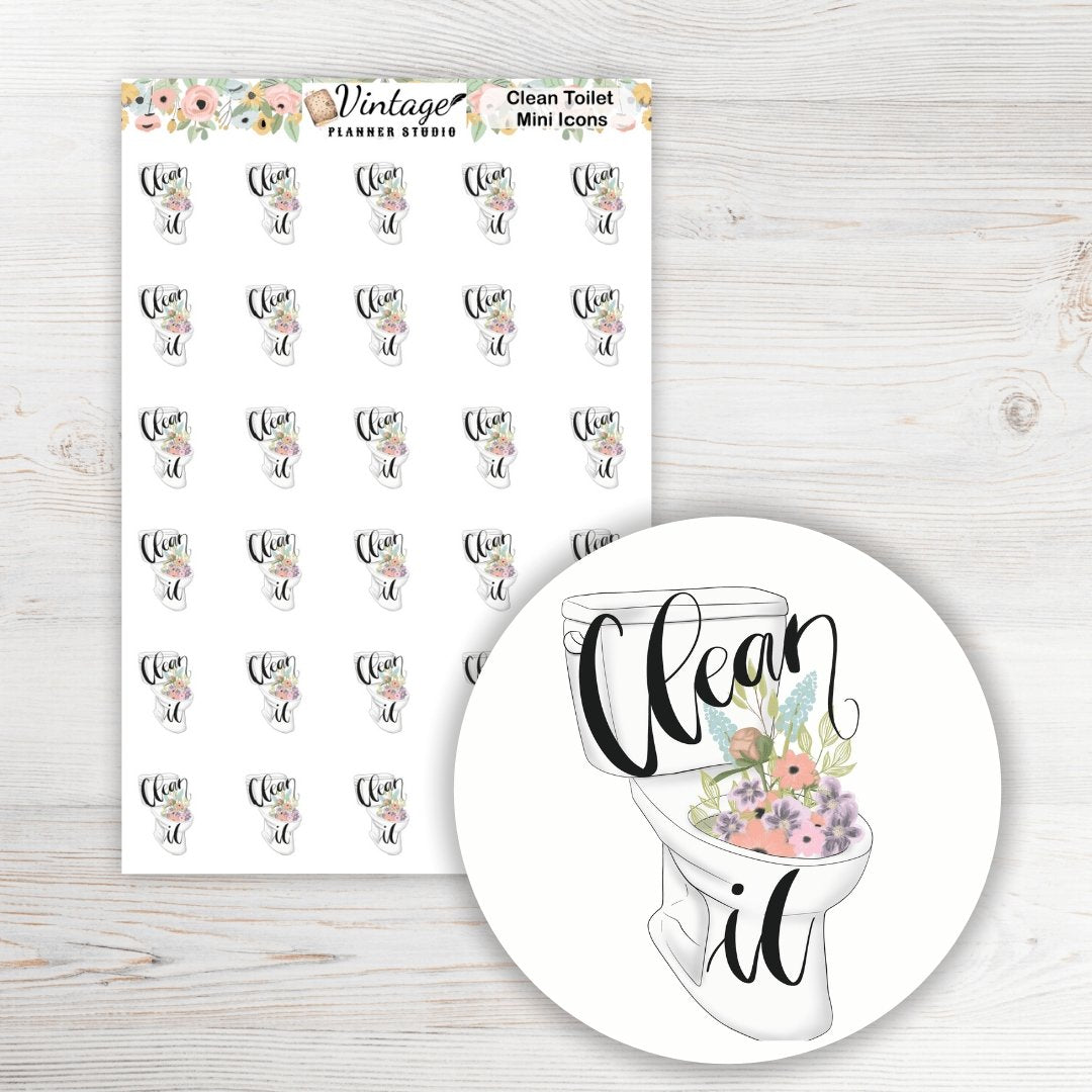 Clean Toilet Mini Icon Planner Stickers - Vintage Planner Studio