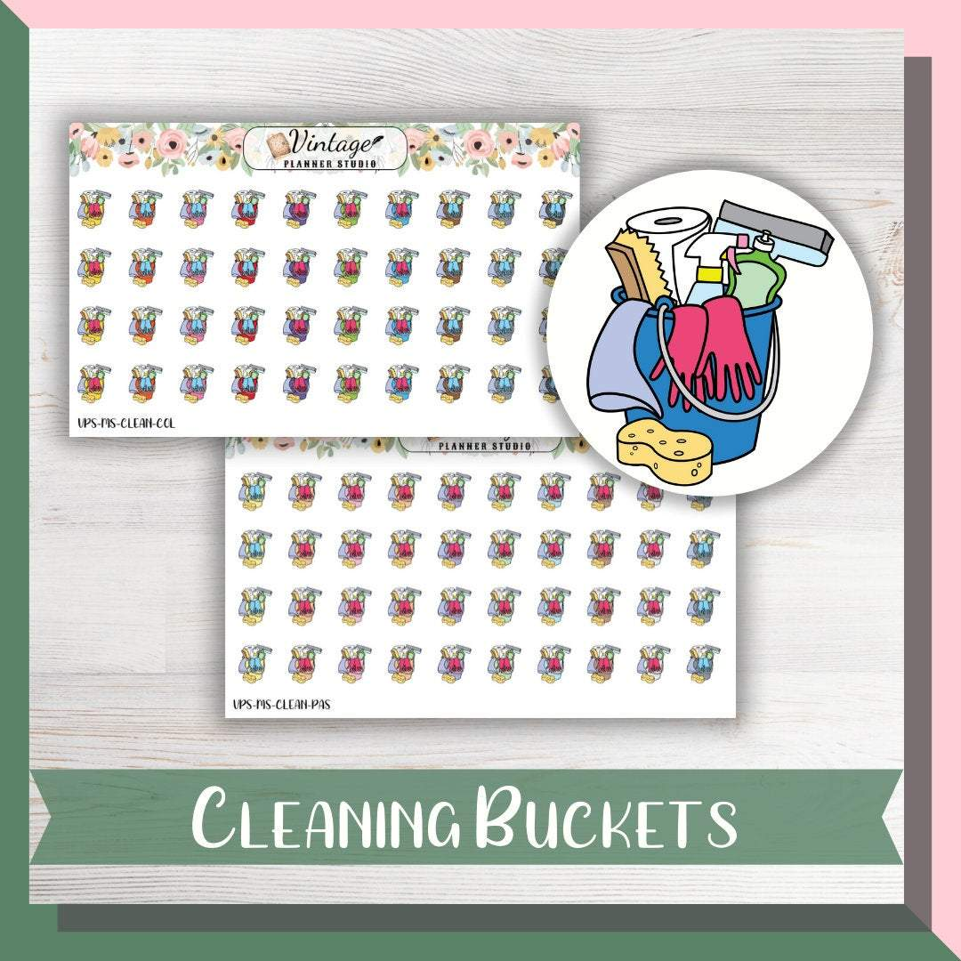 Cleaning Bucket Mini Icon Planner Stickers - Vintage Planner Studio