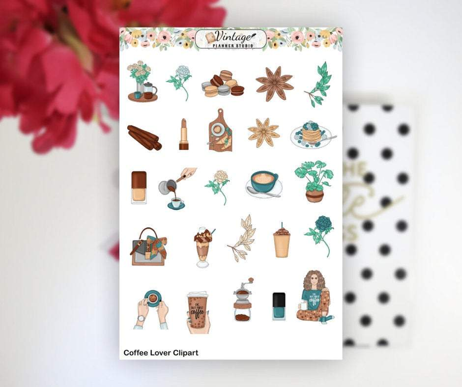 Coffee Lover Clipart Planner Stickers - Vintage Planner Studio