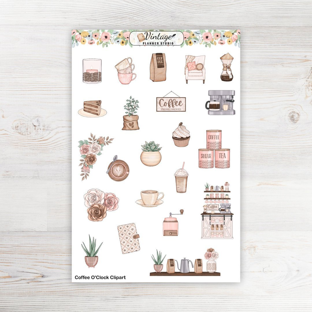 Coffee O'Clock Clipart Planner Stickers - Vintage Planner Studio