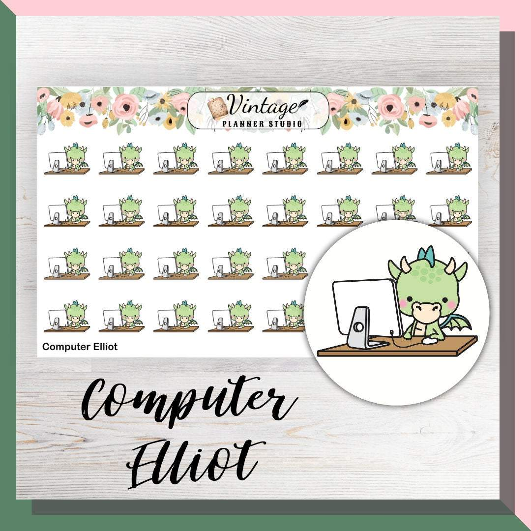 Computer Elliot Mini Sheet Planner Stickers - Vintage Planner Studio