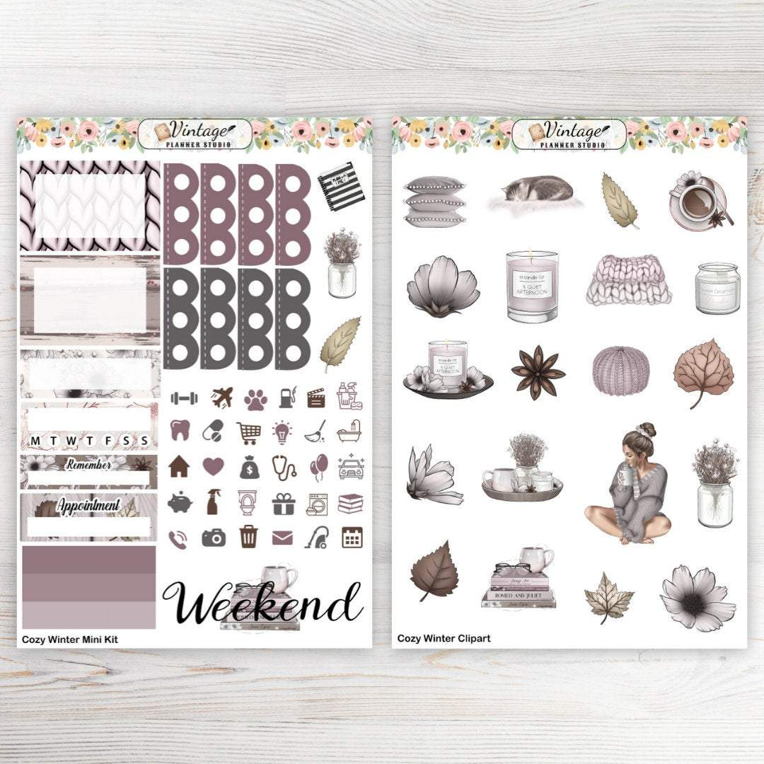 Cozy Winter Mini Kit - Vintage Planner Studio