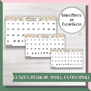 Date Dot Planner Stickers | Multiple Size - Vintage Planner Studio