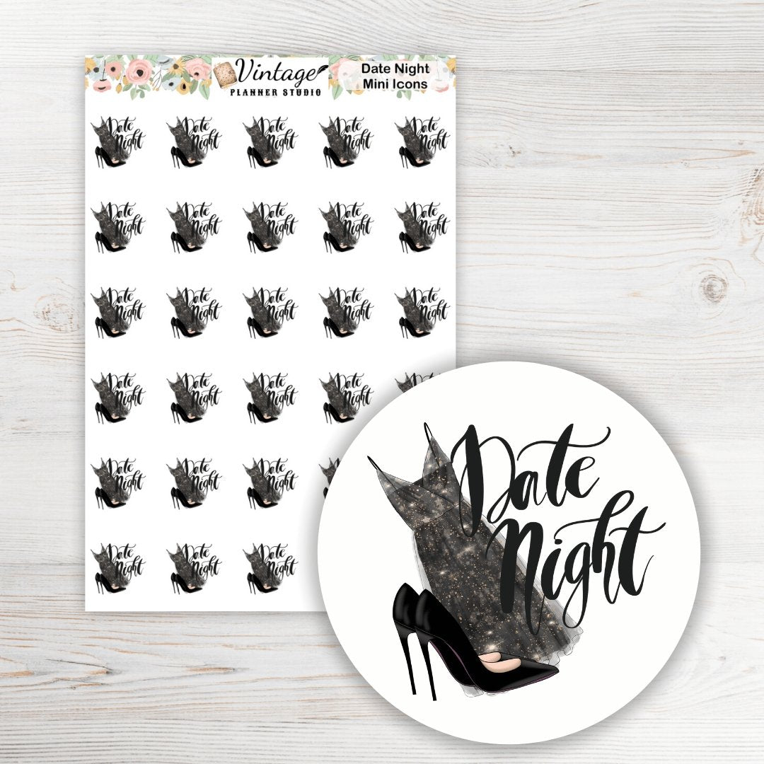 Date Night Mini Icon Planner Stickers - Vintage Planner Studio