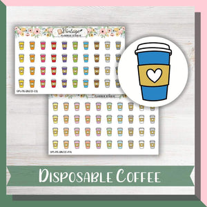 Disposable Coffee Cups Mini Icon Planner Stickers - Vintage Planner Studio