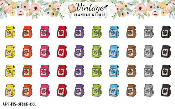 Dog Food Mini Icon Planner Stickers - Vintage Planner Studio