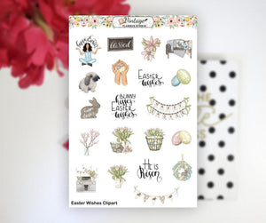 Easter Wishes Clipart Planner Stickers - Vintage Planner Studio