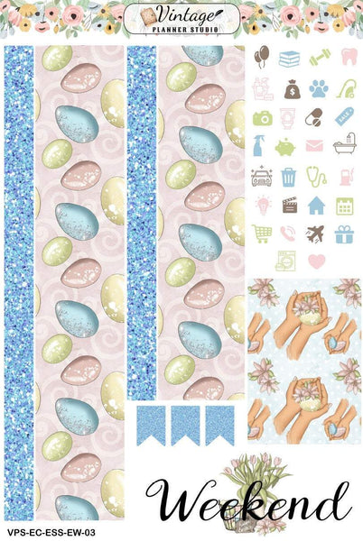 Easter Wishes Essentials Weekly Sticker Kit | EC Style | VERTICAL | 4 Sheet Kit - Vintage Planner Studio