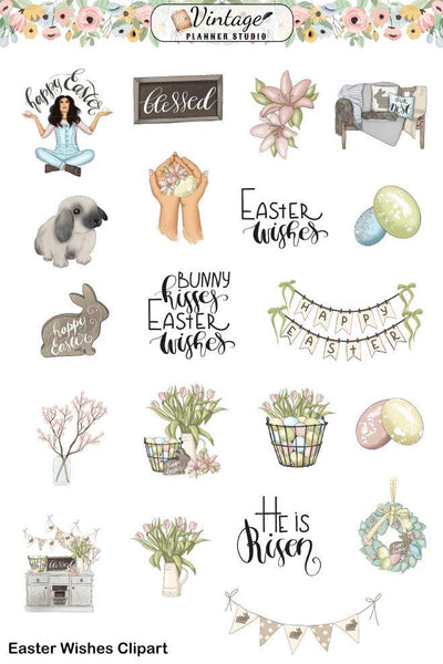 Easter Wishes Mini Kit | Planner Stickers - Vintage Planner Studio