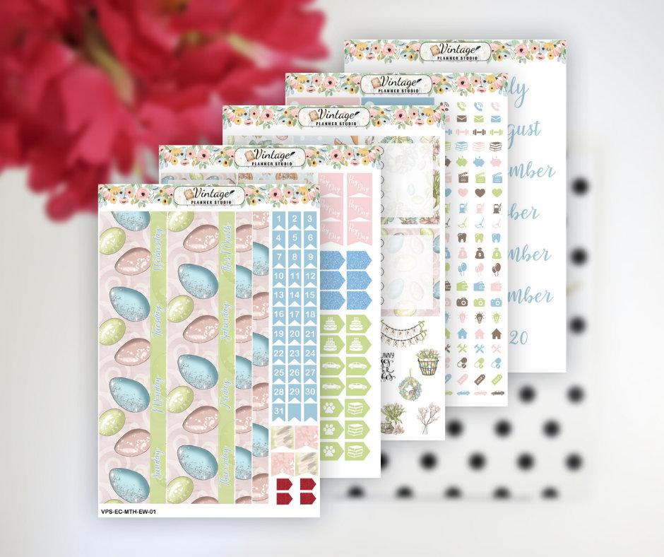 Easter Wishes Monthly Kit | Erin Condren Vertical - Vintage Planner Studio