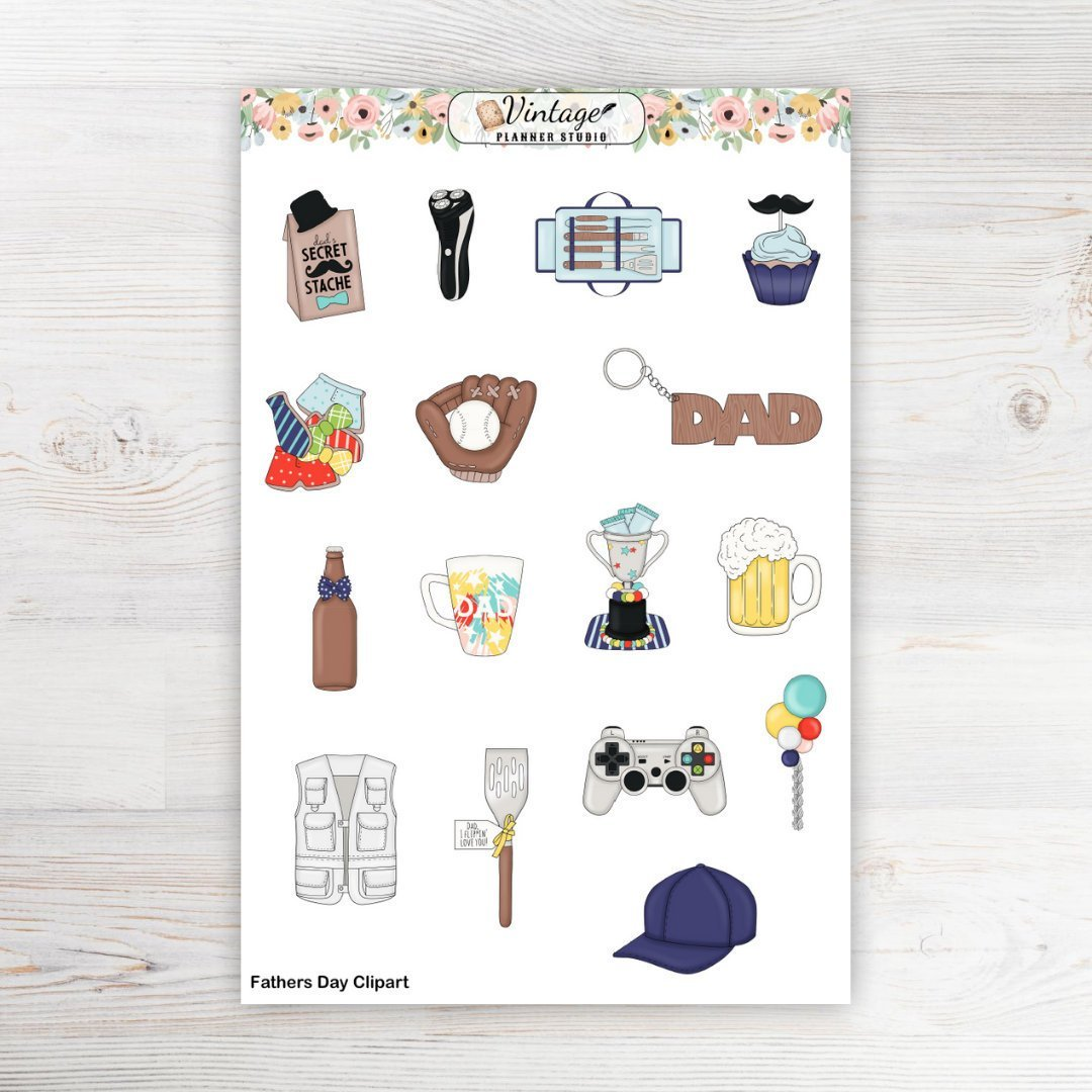 Father's Day Clipart - Vintage Planner Studio