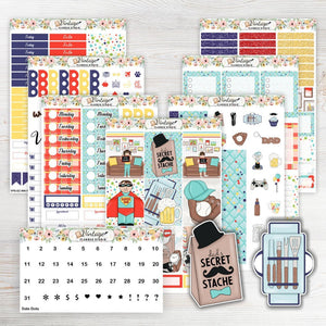 Father's Day Sticker Kit | EC Style | VERTICAL | 7 Sheet Kit Plus Date Dots & Die Cuts - Vintage Planner Studio