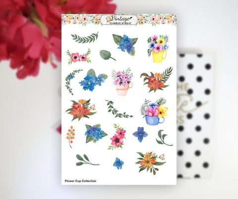 Flower Cup Collection Clipart Planner Stickers - Vintage Planner Studio