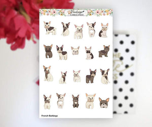 French Bulldog Clipart Planner Stickers - Vintage Planner Studio