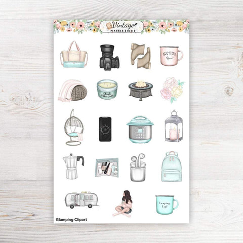 Glamping Clipart Planner Stickers - Vintage Planner Studio
