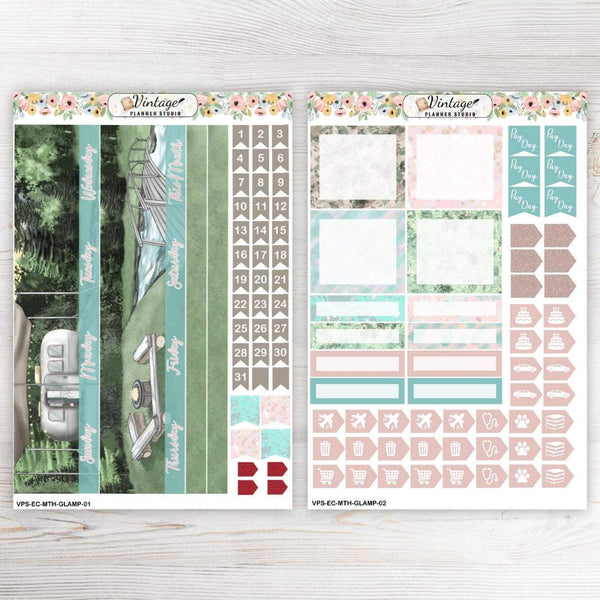 Glamping Monthly Kit | Erin Condren Vertical - Vintage Planner Studio