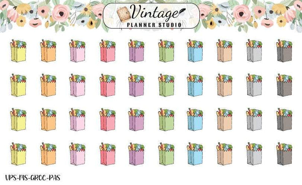 Grocery Bag Mini Icon Planner Stickers - Vintage Planner Studio