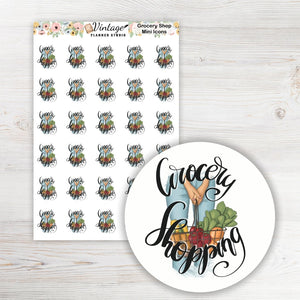 Grocery Shopping Mini Icon Planner Stickers - Vintage Planner Studio