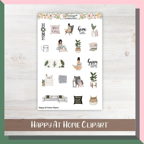 Happy At Home Clipart Planner Stickers - Vintage Planner Studio
