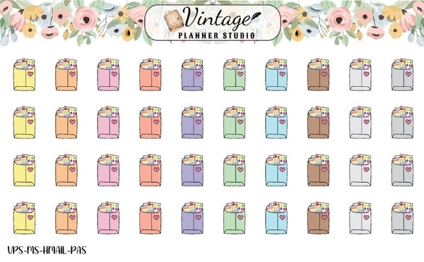 Happy Mail Mini Icon Planner Stickers - Vintage Planner Studio
