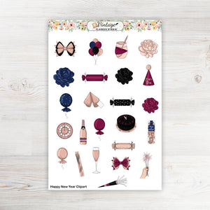 Happy New Year Clipart Planner Stickers - Vintage Planner Studio