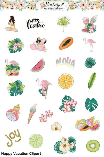 Happy Vacation Clipart Planner Stickers - Vintage Planner Studio